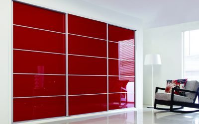 Hepplewhite sliding wardrobe pomegranate glass - Herts Bathrooms